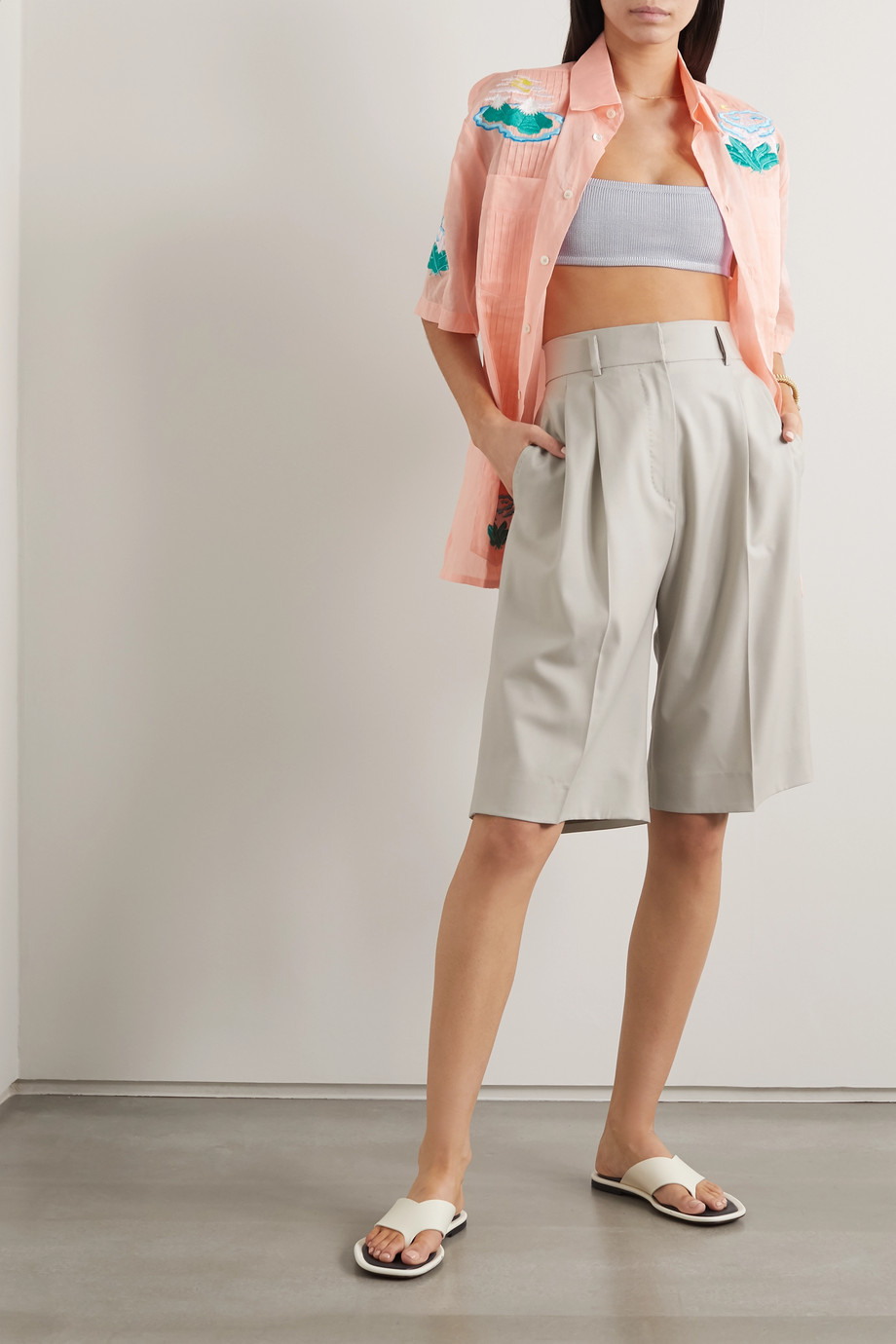 Calle Del Mar Cropped stretch-knit top