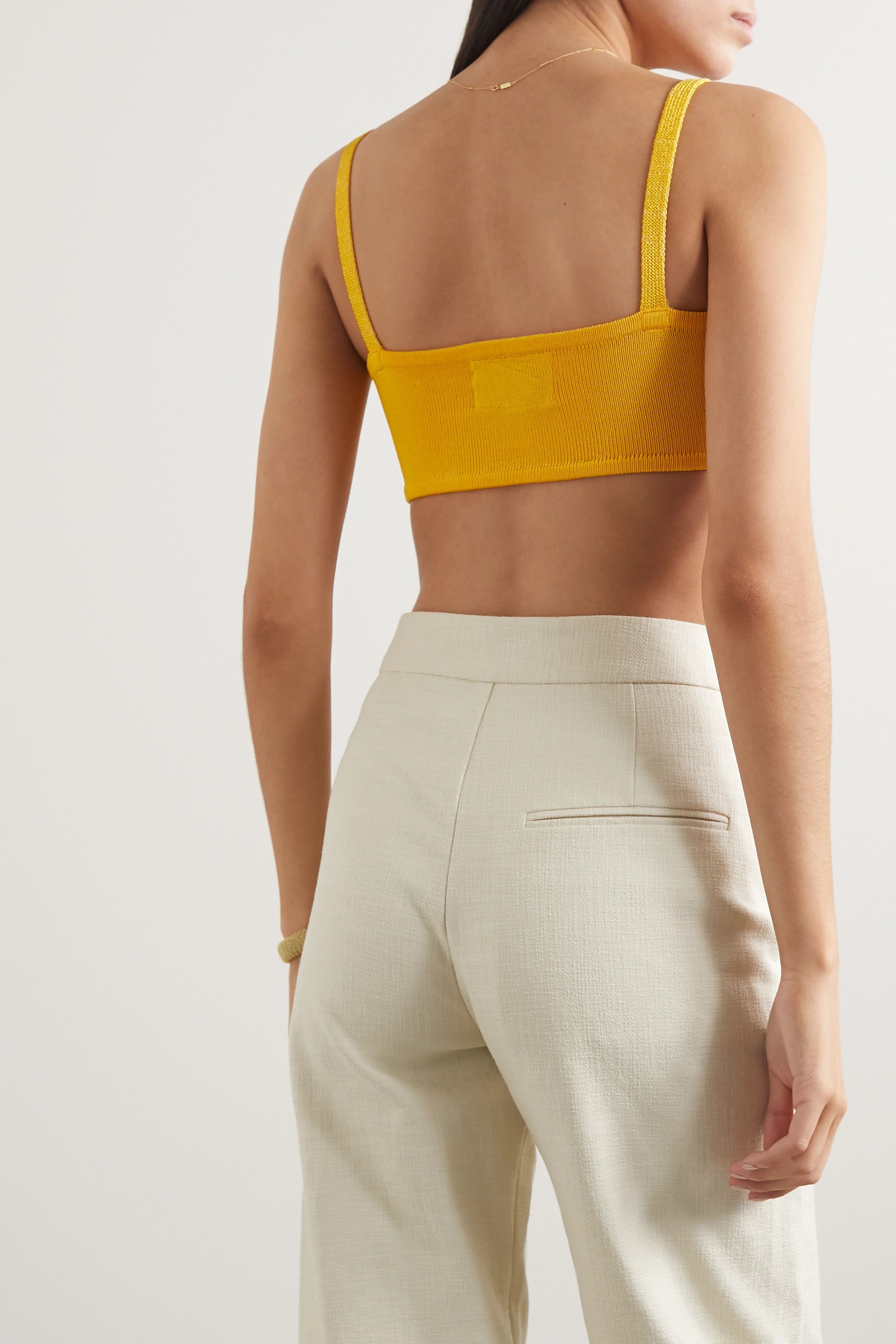 Yellow Cropped Stretch-knit Top | Calle Del Mar