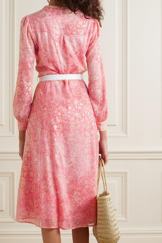 MICHAEL Michael Kors Belted paisley-print fil coupé gauze midi dress