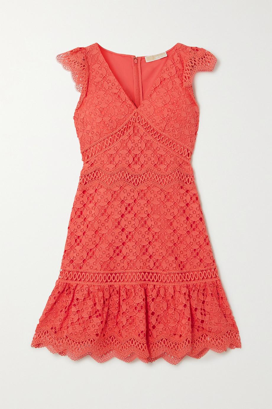 마이클 마이클 코어스 Michael Michael Kors Ruffled crocheted lace mini dress,Coral