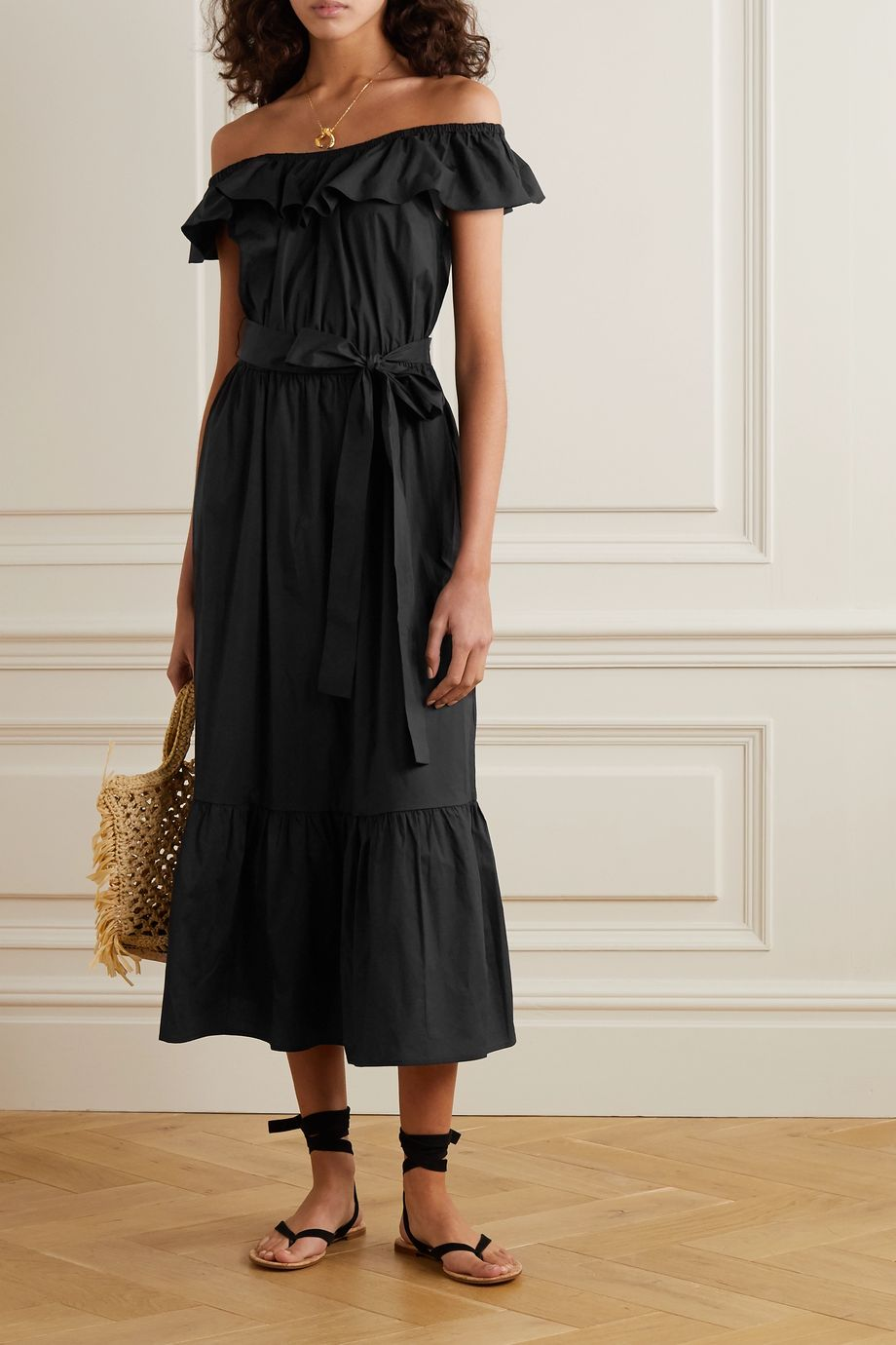 MICHAEL Michael Kors Off-the-shoulder belted cotton-blend poplin midi dress