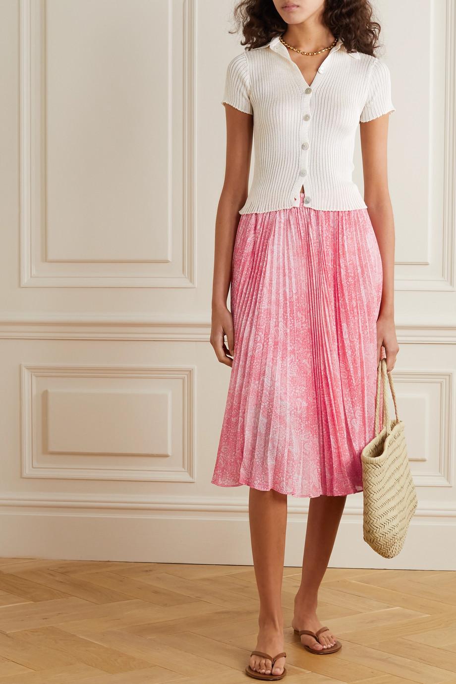 MICHAEL Michael Kors Pleated paisley-print chiffon midi skirt