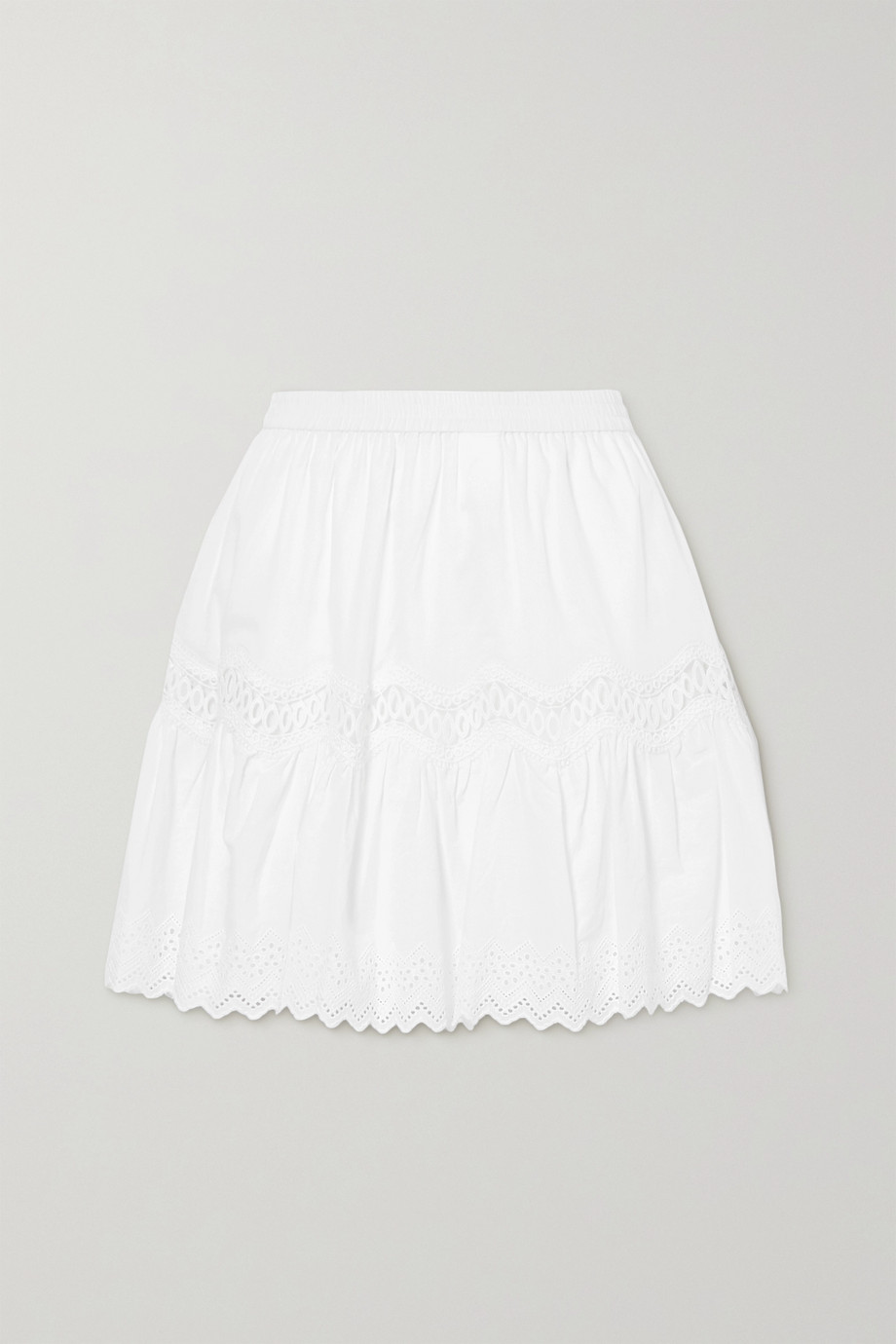 MICHAEL Michael Kors Crocheted lace and broderie anglaise-trimmed cotton mini skirt