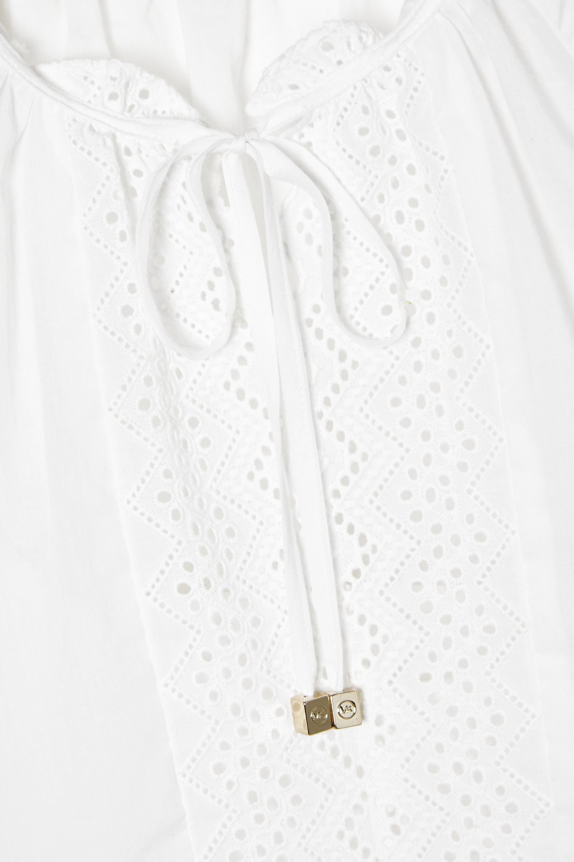 White Ruffled Broderie Anglaise-trimmed Cotton Top | Michael Kors