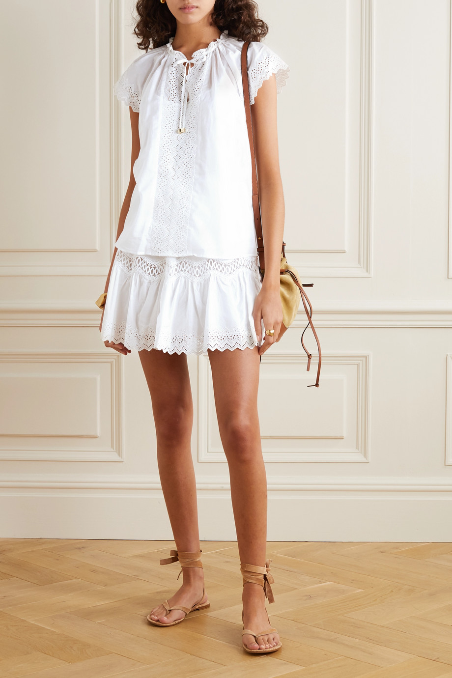 MICHAEL Michael Kors Ruffled broderie anglaise-trimmed cotton top