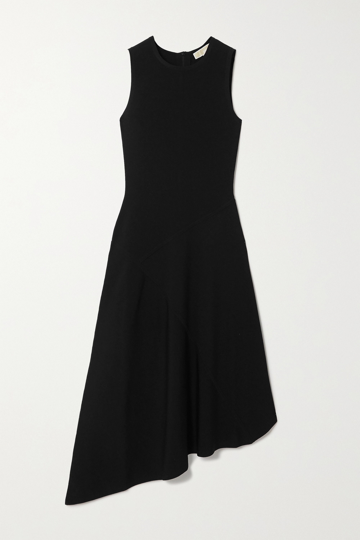 MICHAEL Michael Kors Asymmetric ribbed stretch-jersey midi dress