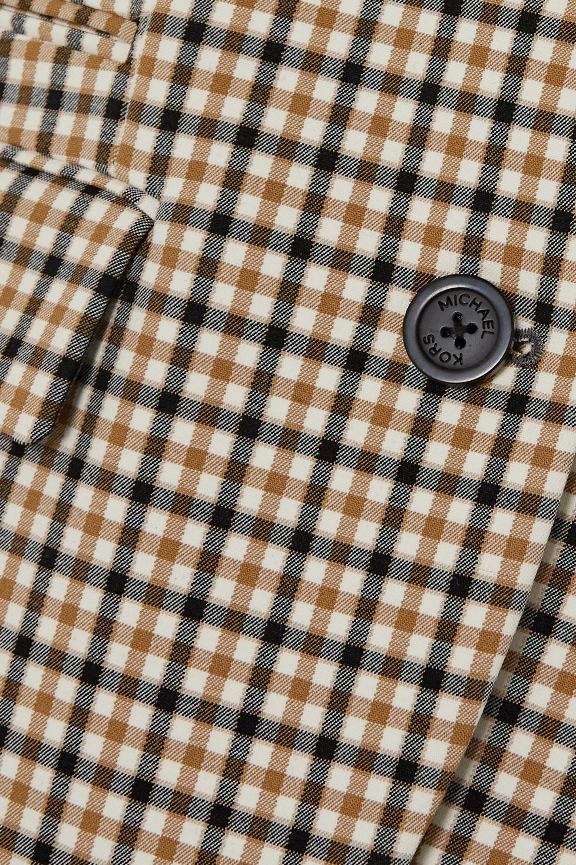 Beige Checked Twill Blazer | Michael Kors
