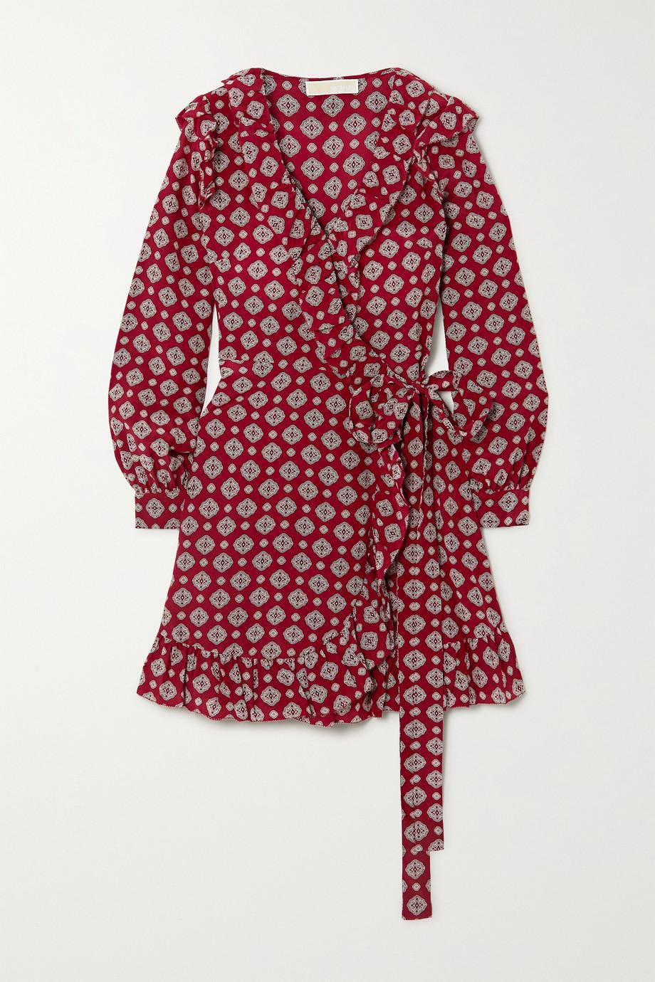 MICHAEL Michael Kors Ruffled printed silk-crepe mini wrap dress