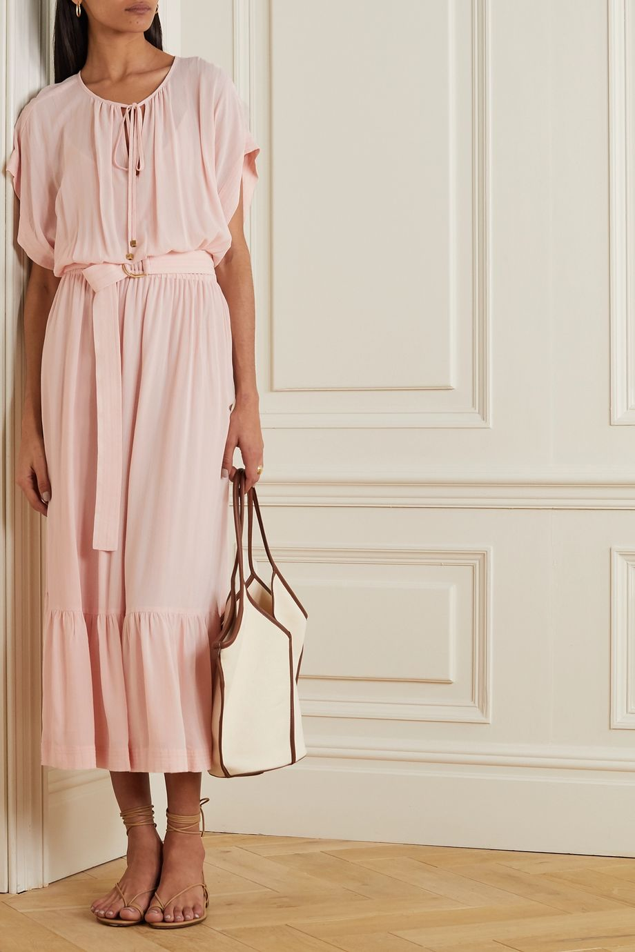 MICHAEL Michael Kors Belted tiered gauze midi dress