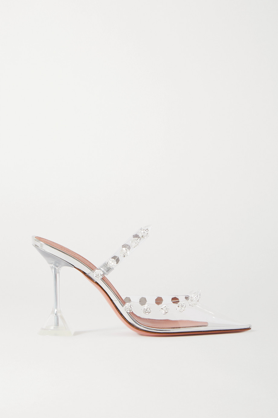 Amina Muaddi Julia crystal-embellished PVC and metallic leather mules
