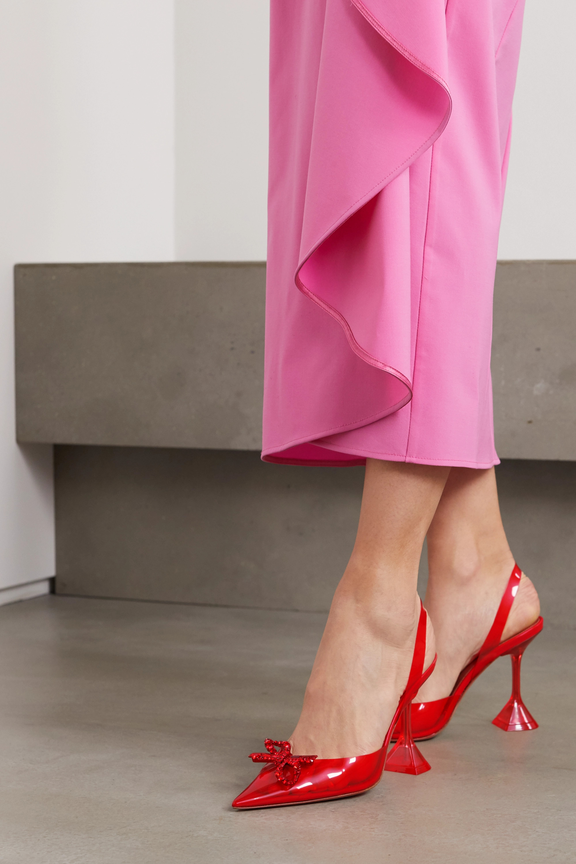 Amina Muaddi Rosie Glass 水晶缀饰蝴蝶结 PVC 露跟高跟鞋