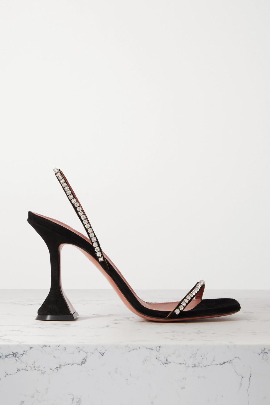Amina Muaddi Jade crystal-embellished suede slingback sandals