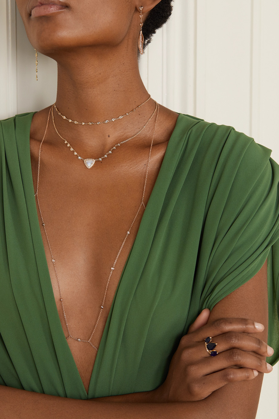Jacquie Aiche 14-karat rose gold diamond body chain