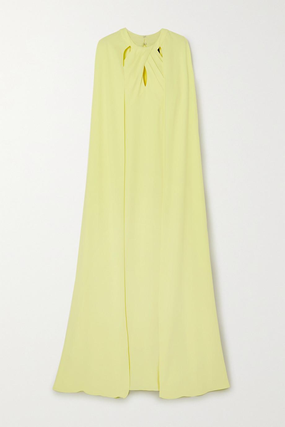 Marchesa Notte Cape-effect cutout crepe gown
