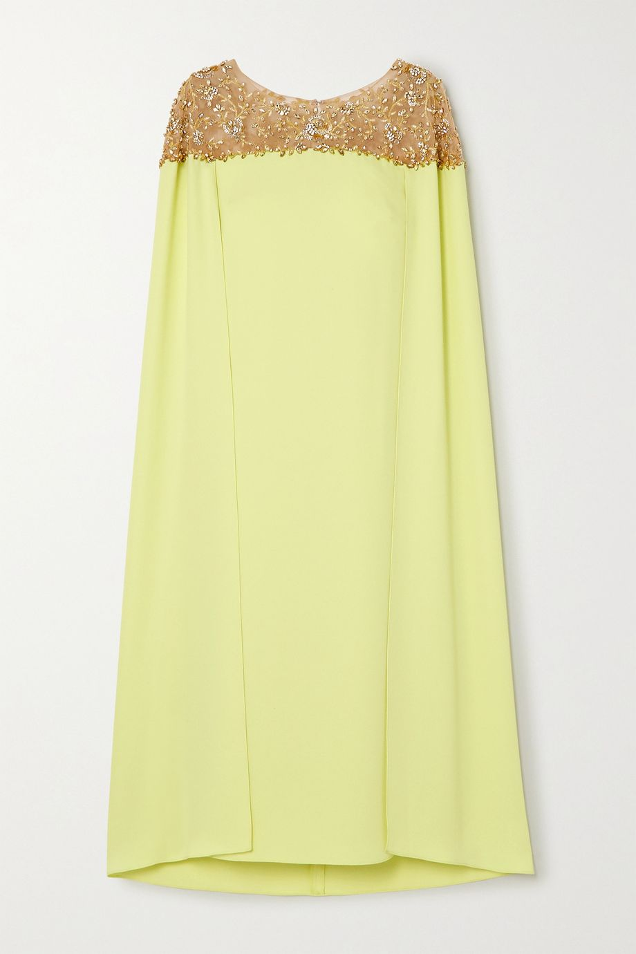 Marchesa Notte Cape-effect embellished tulle and crepe midi dress