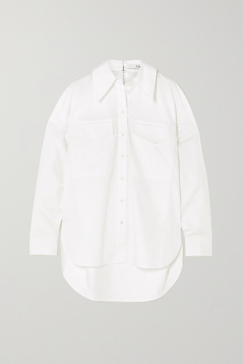 Tibi Zip-embellished organic cotton-poplin shirt