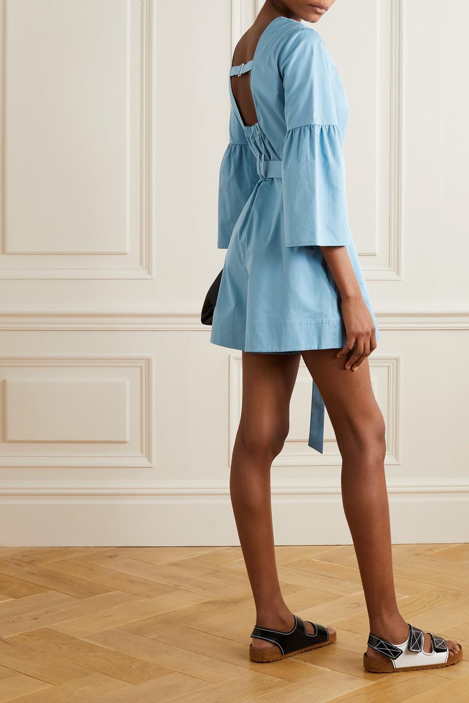 Tibi Combi-short en popeline de coton biologique à ceinture