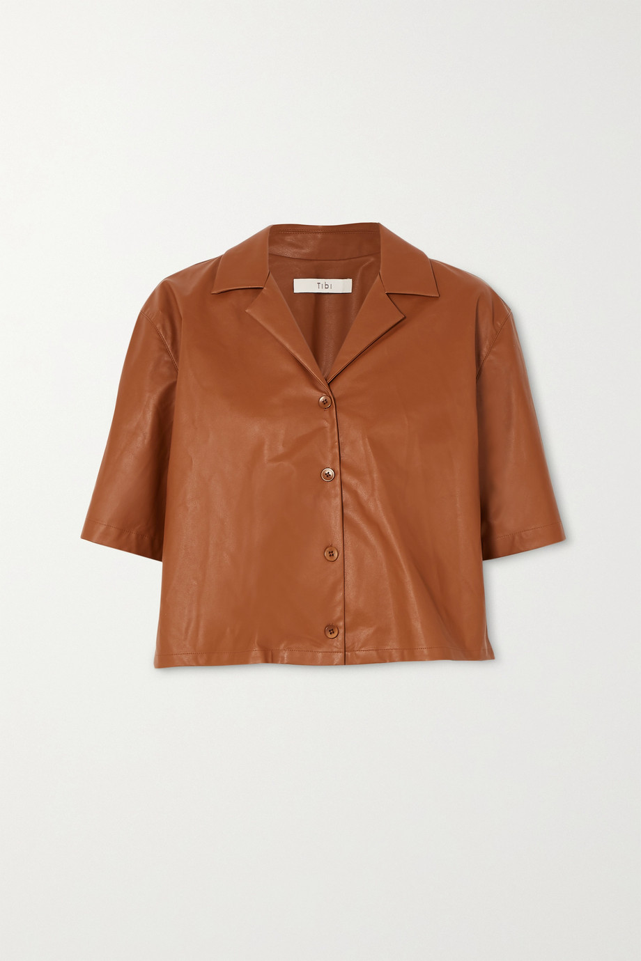 Tibi 人造皮革衬衫