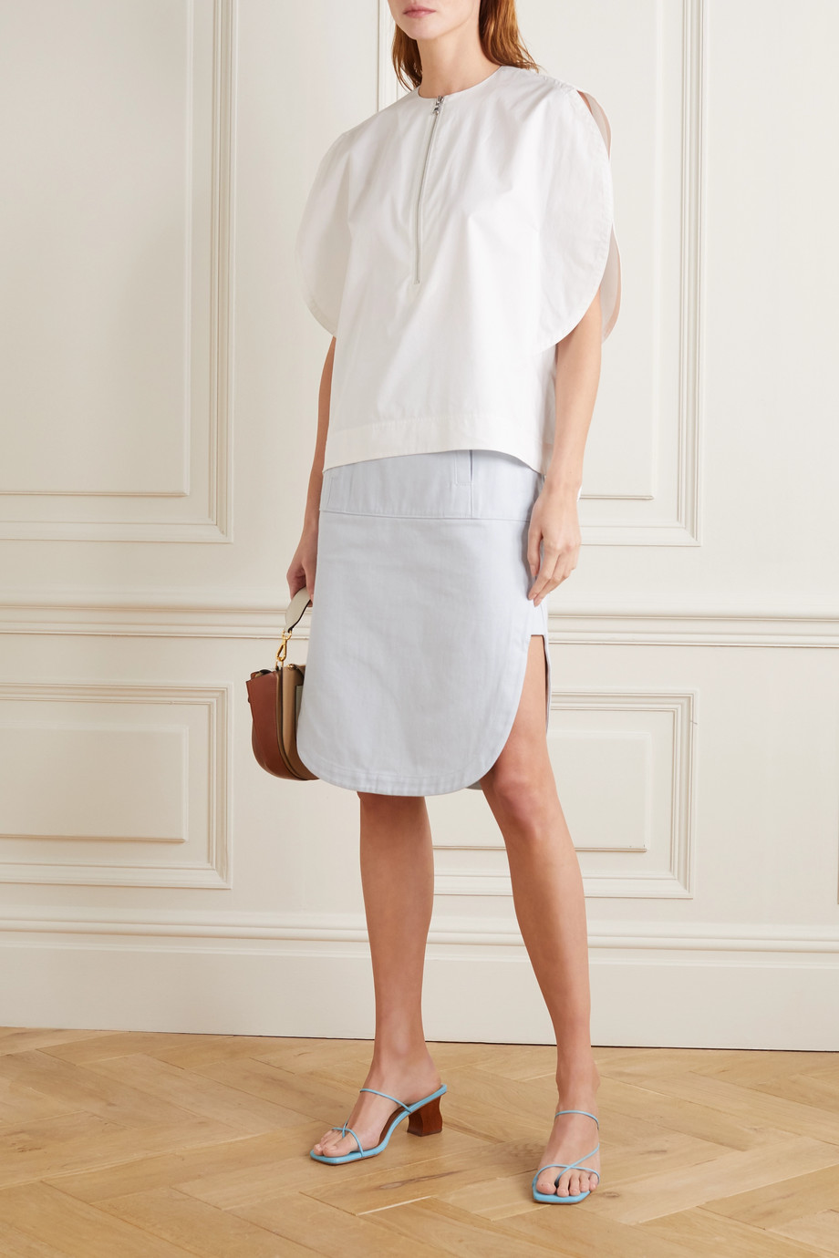 Tibi Cotton-blend twill midi skirt