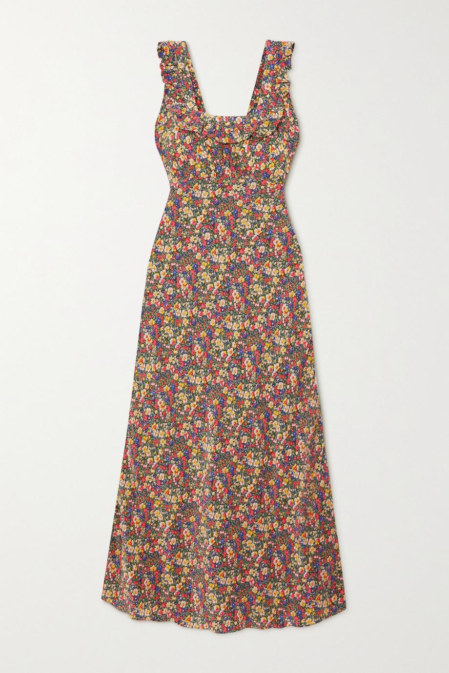 DÔEN Cascade Kleid aus Crêpe de Chine aus Seide mit Blumenprint und Rüschen