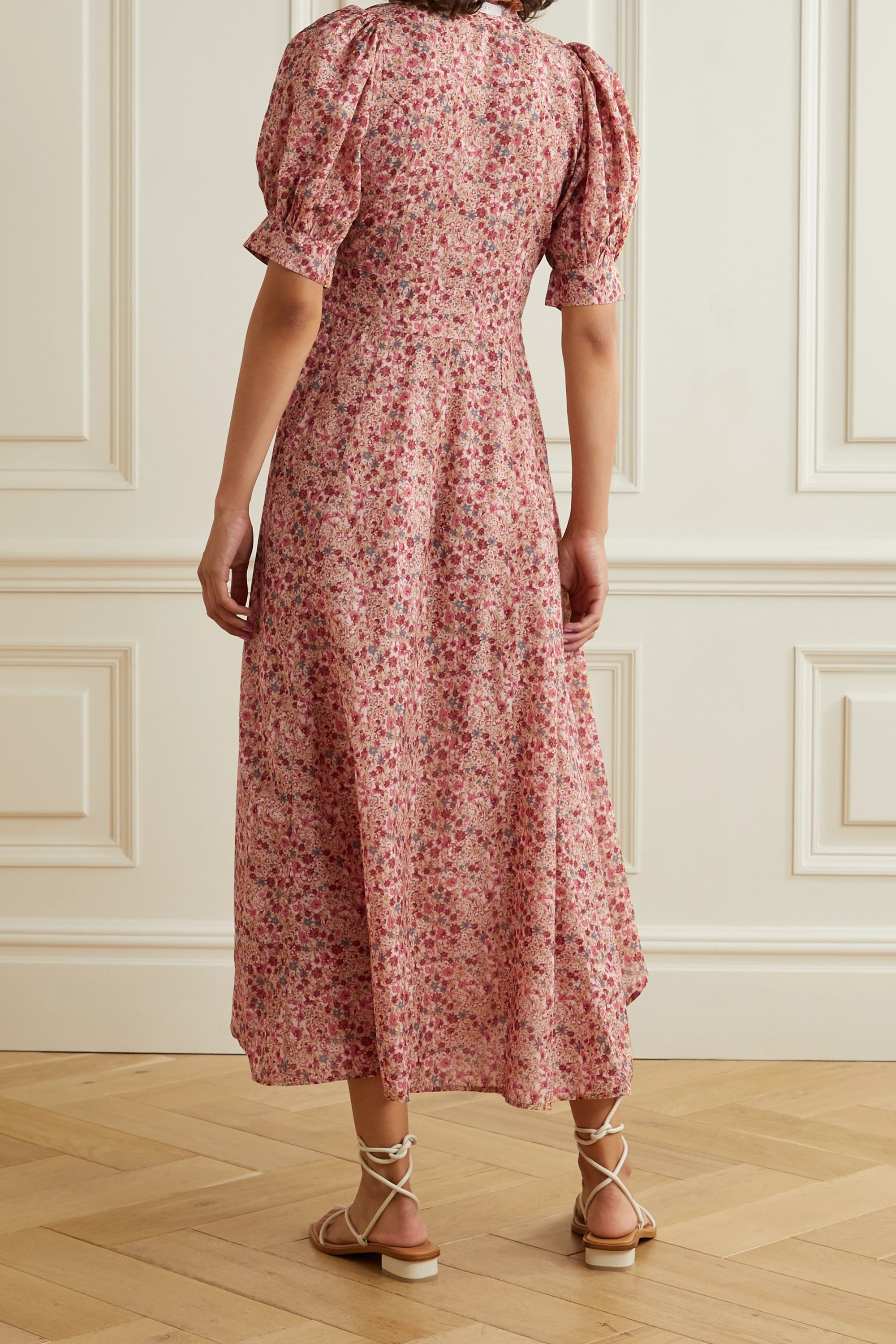 DÔEN Laurel floral-print cotton-blend midi dress