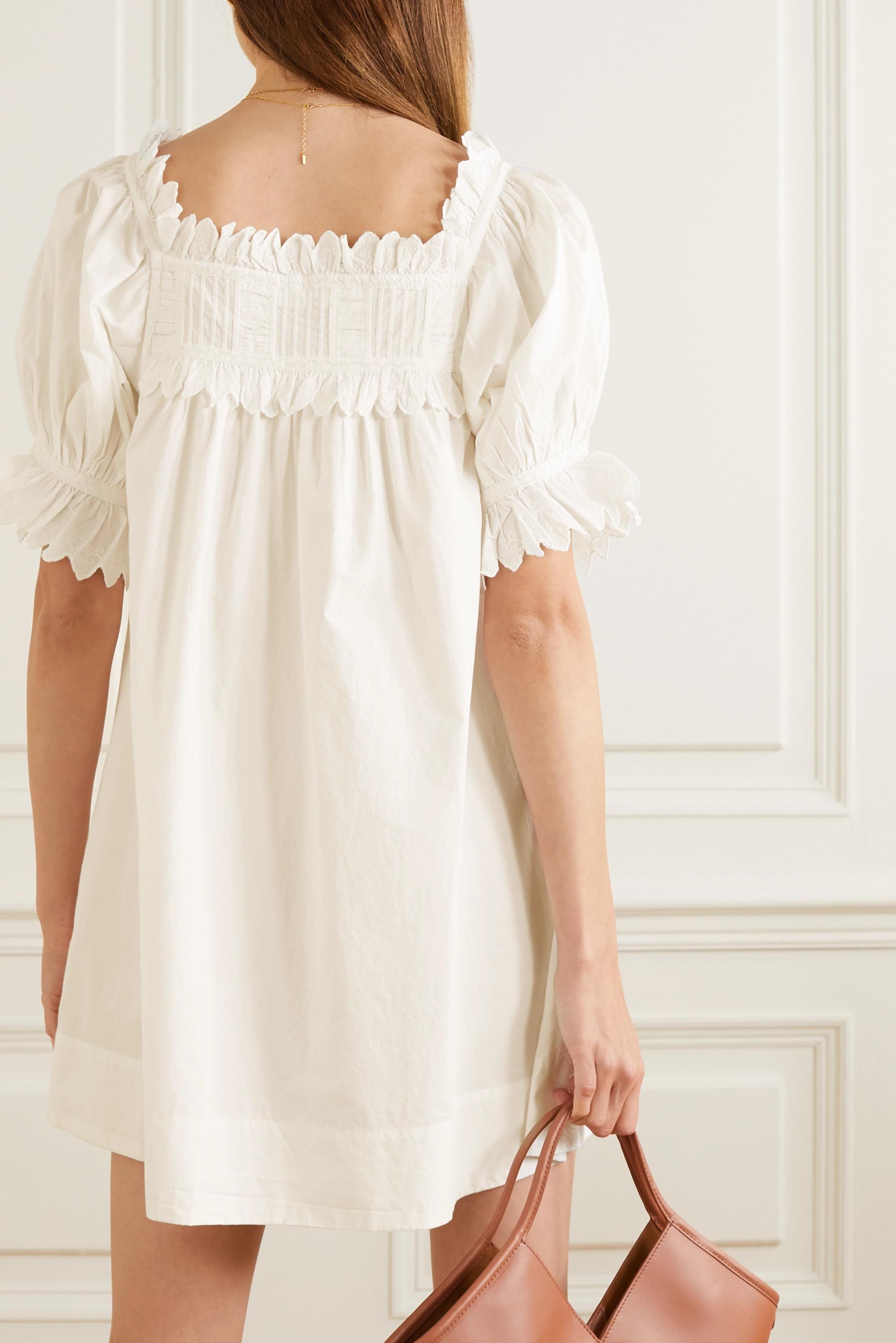 DÔEN Mini-robe en popeline de coton à broderies et à festons Orchard