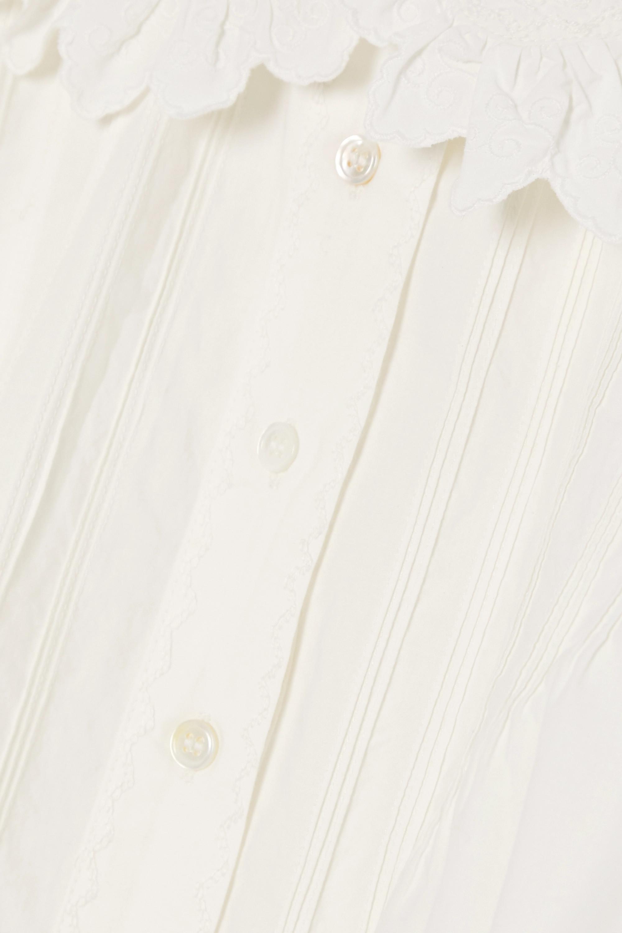 White Rune Scalloped Embroidered Cotton-poplin Blouse | Dôen