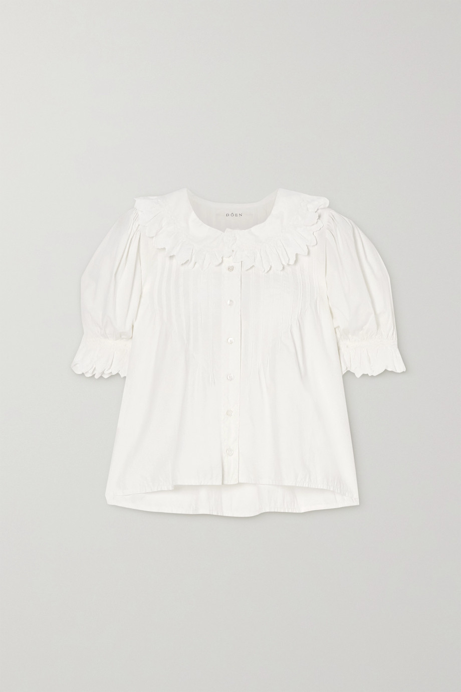 DÔEN Rune scalloped embroidered cotton-poplin blouse