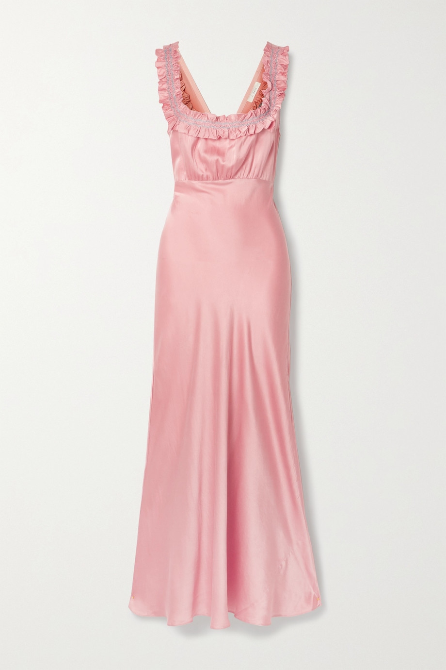 DÔEN Nola embroidered silk-satin midi dress