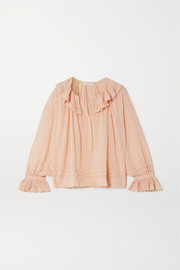 DÔEN Etta ruffled broderie anglaise cotton-voile blouse