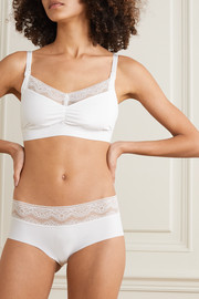 SIX Rosa Leavers lace-trimmed stretch-jersey soft-cup nursing bra
