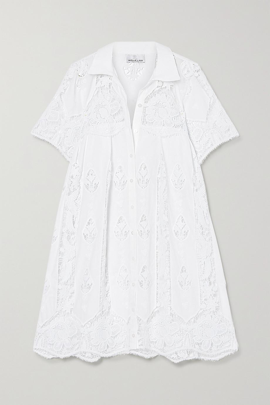Miguelina Alanna crocheted cotton mini shirt dress