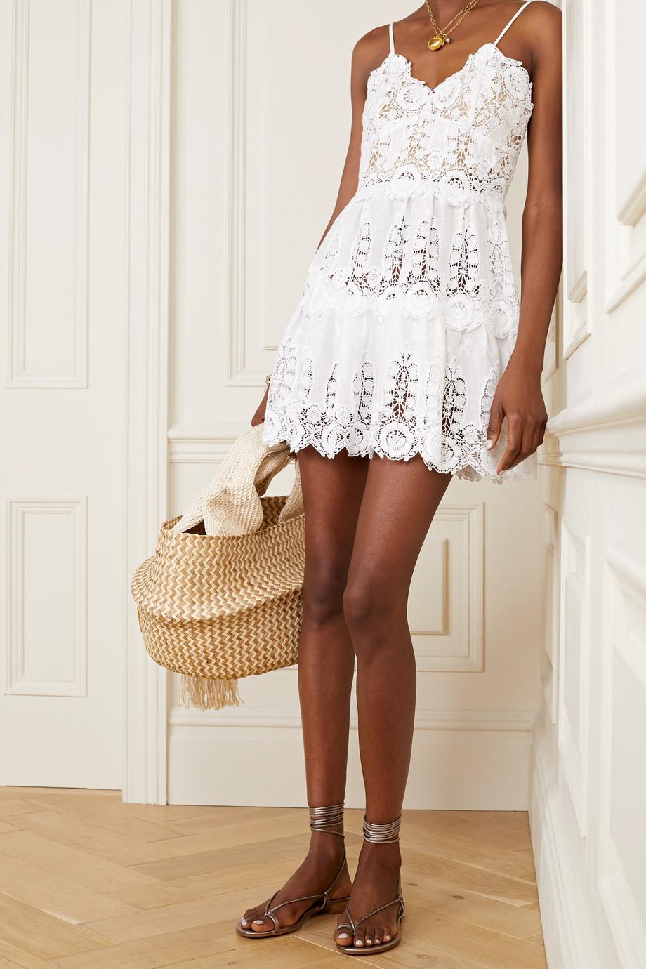 Miguelina Sara crochet-trimmed linen mini dress
