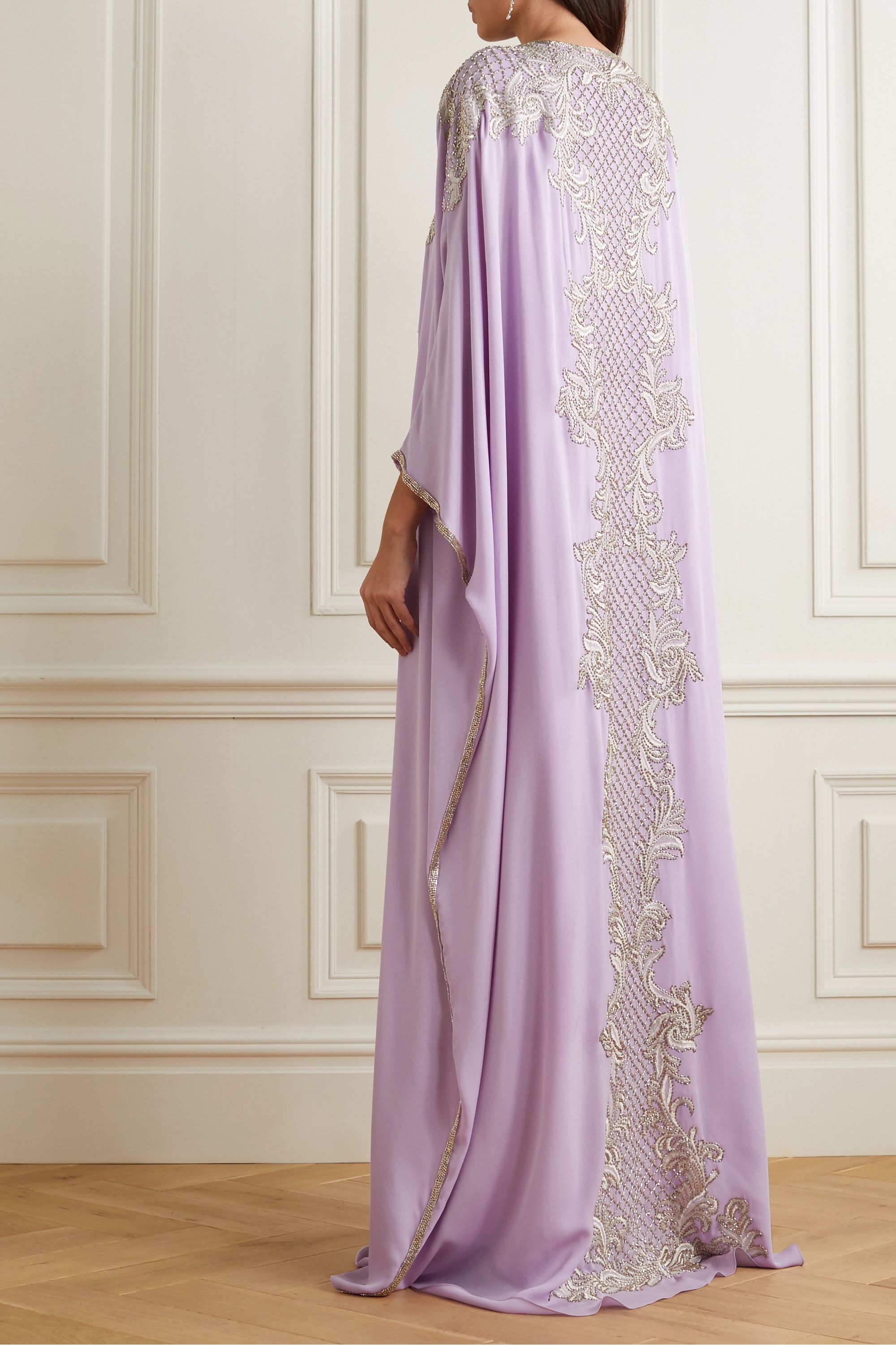 Marchesa Embellished embroidered silk crepe de chine gown
