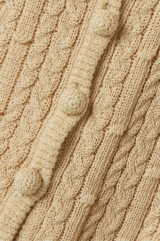 Beige Sheila Cropped Cable-knit Cotton-blend Tank | Nicholas