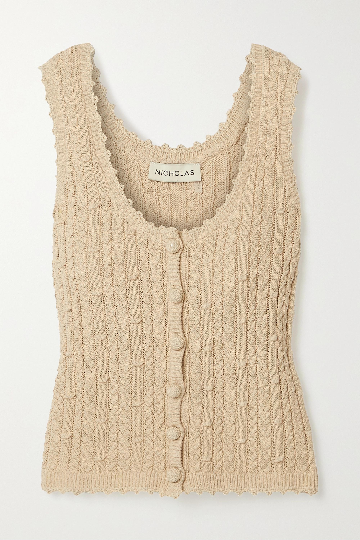 NICHOLAS Sheila cropped cable-knit cotton-blend tank