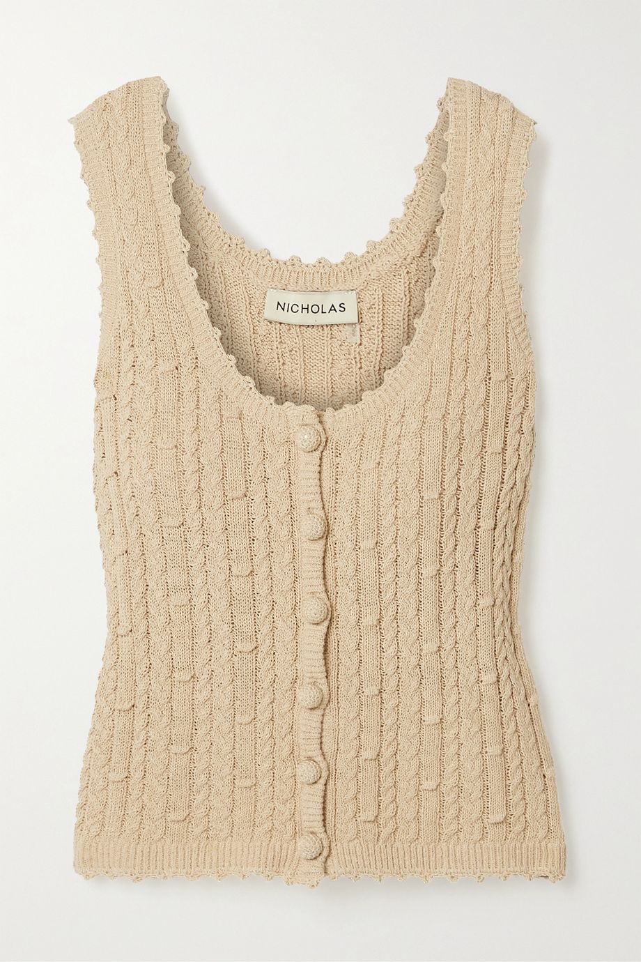 NICHOLAS Sheila cropped cable-knit cotton-blend tank