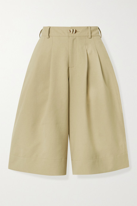 Taupe Amy pleated twill shorts | NICHOLAS UVkUNX