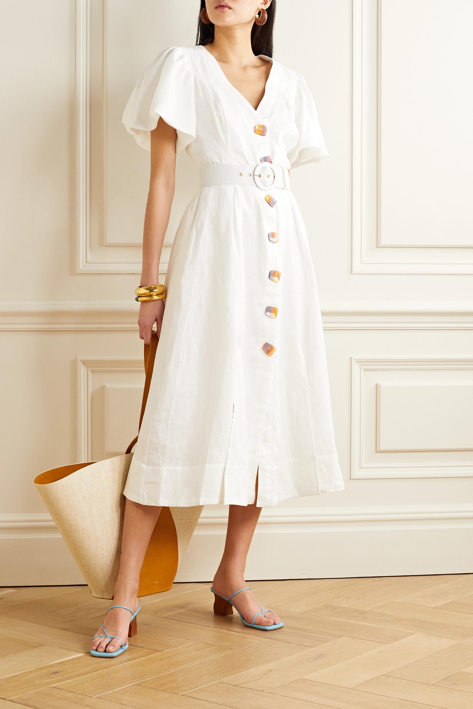 NICHOLAS Troy belted linen midi dress