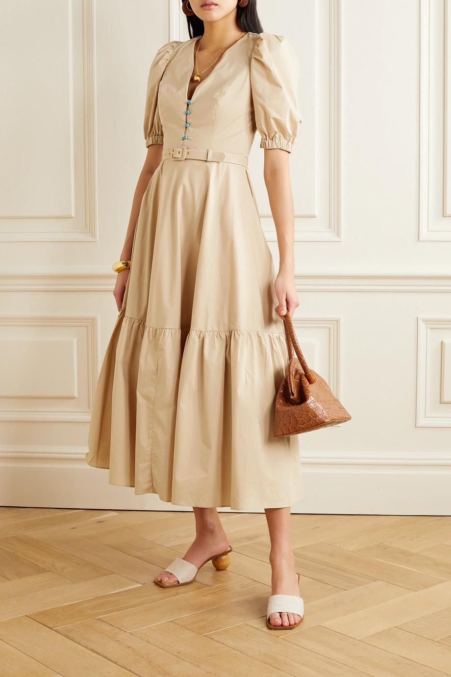 NICHOLAS Rebecca belted cutout cotton-poplin maxi dress