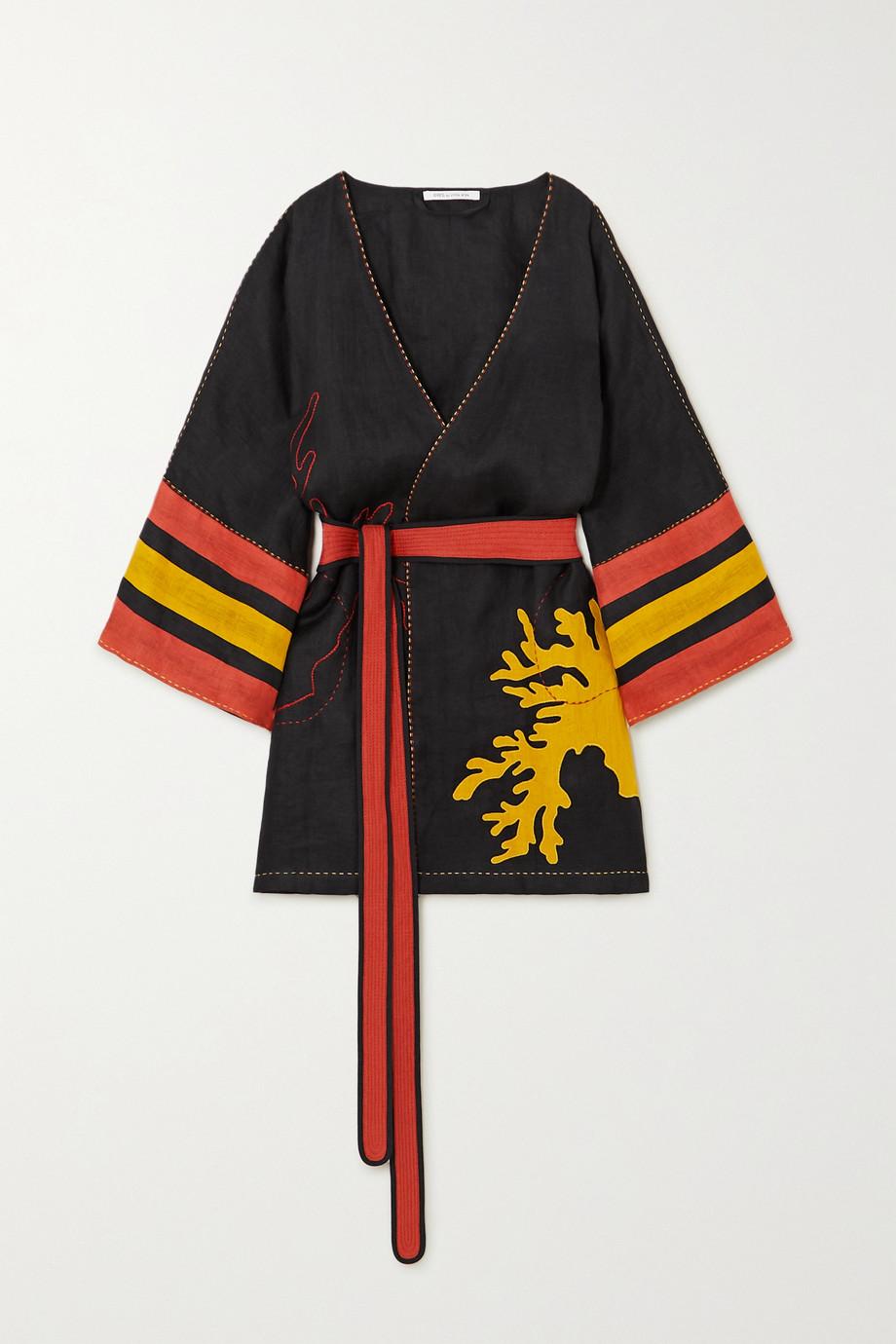 Eres + Vita Kin Antarctica embroidered linen kimono