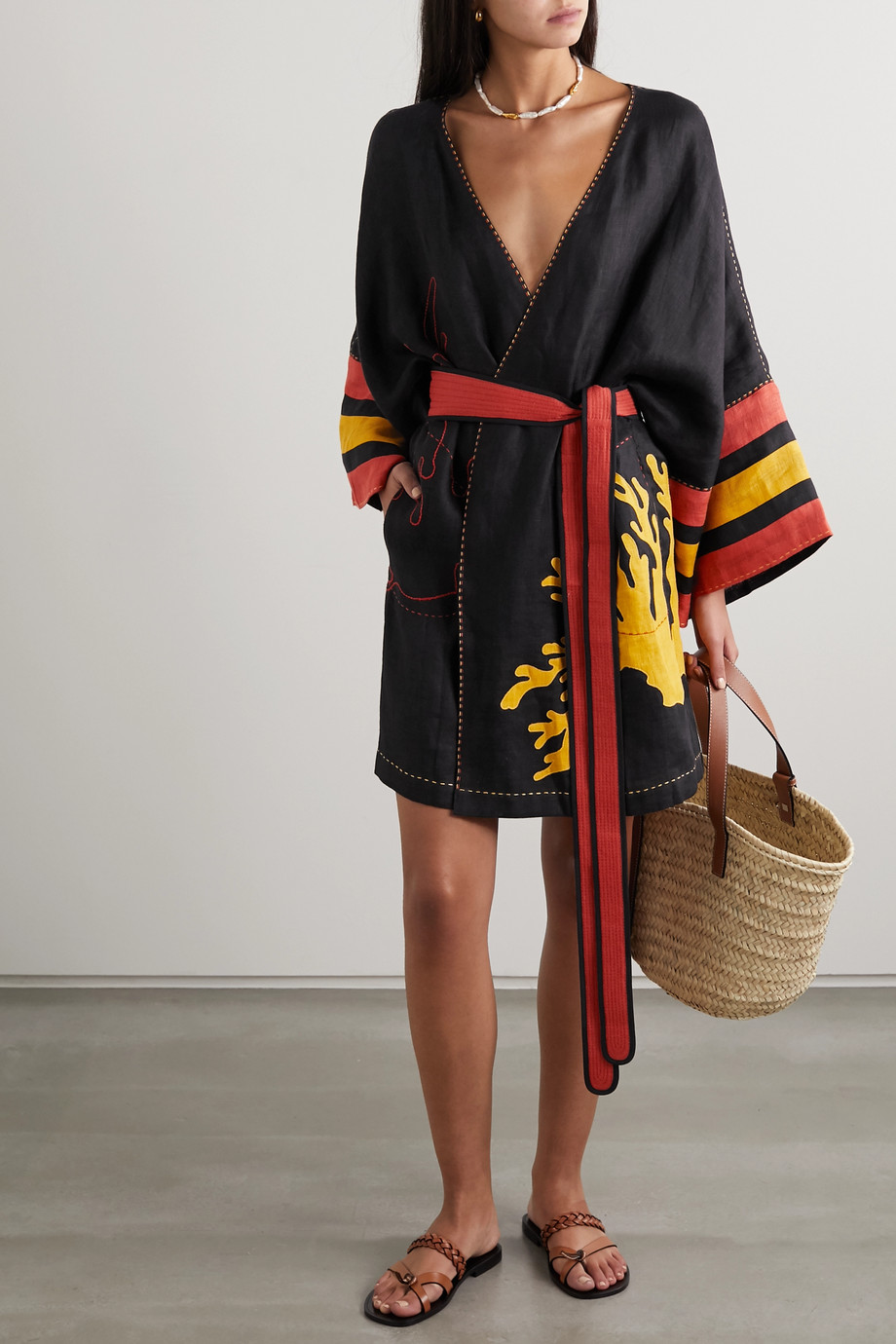 "Eres x Vita Kin ""Antarctica"" 刺绣亚麻和服式连衣裙"