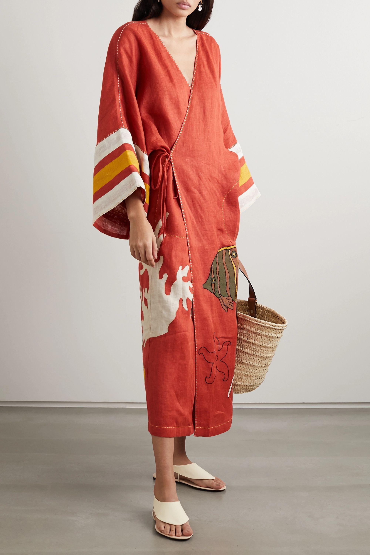 Eres + Vita Kin Tasmania embroidered linen kimono