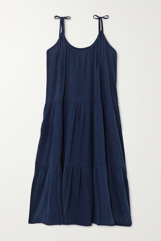 Daisy gestuftes Kleid aus Baumwollgaze in Knitteroptik