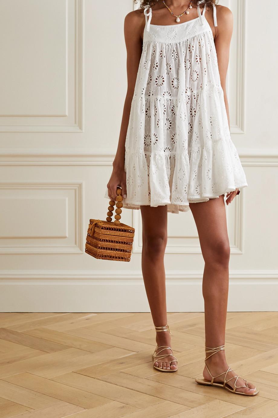Honorine Peri gestuftes Minikleid aus Baumwollgaze mit Lochstickerei