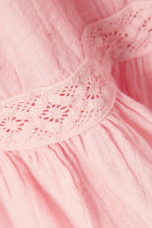 Baby Pink India Crochet-trimmed Crinkled Cotton-gauze Mini Dress | Honorine