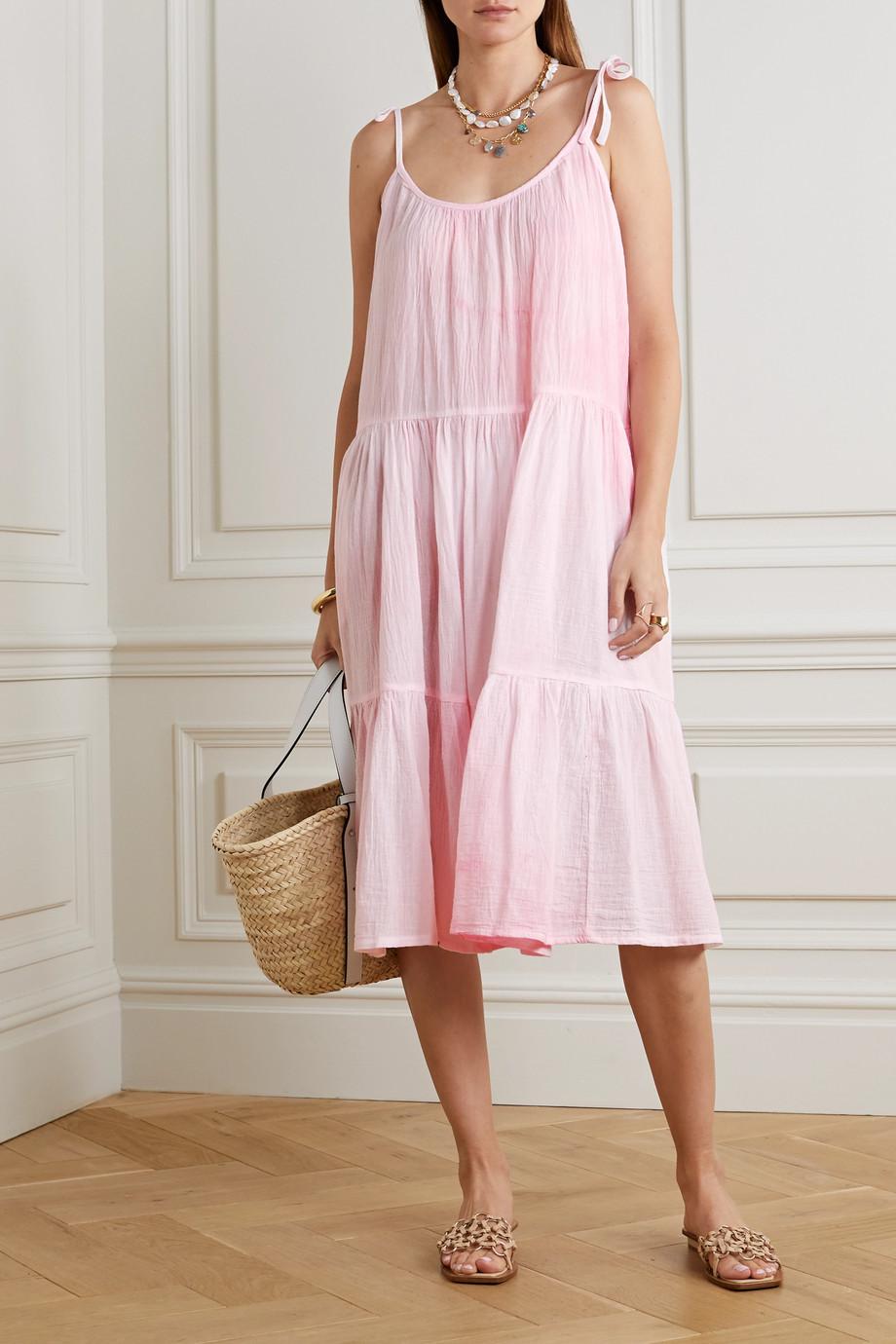 Honorine Daisy tie-dyed crinkled cotton-gauze dress