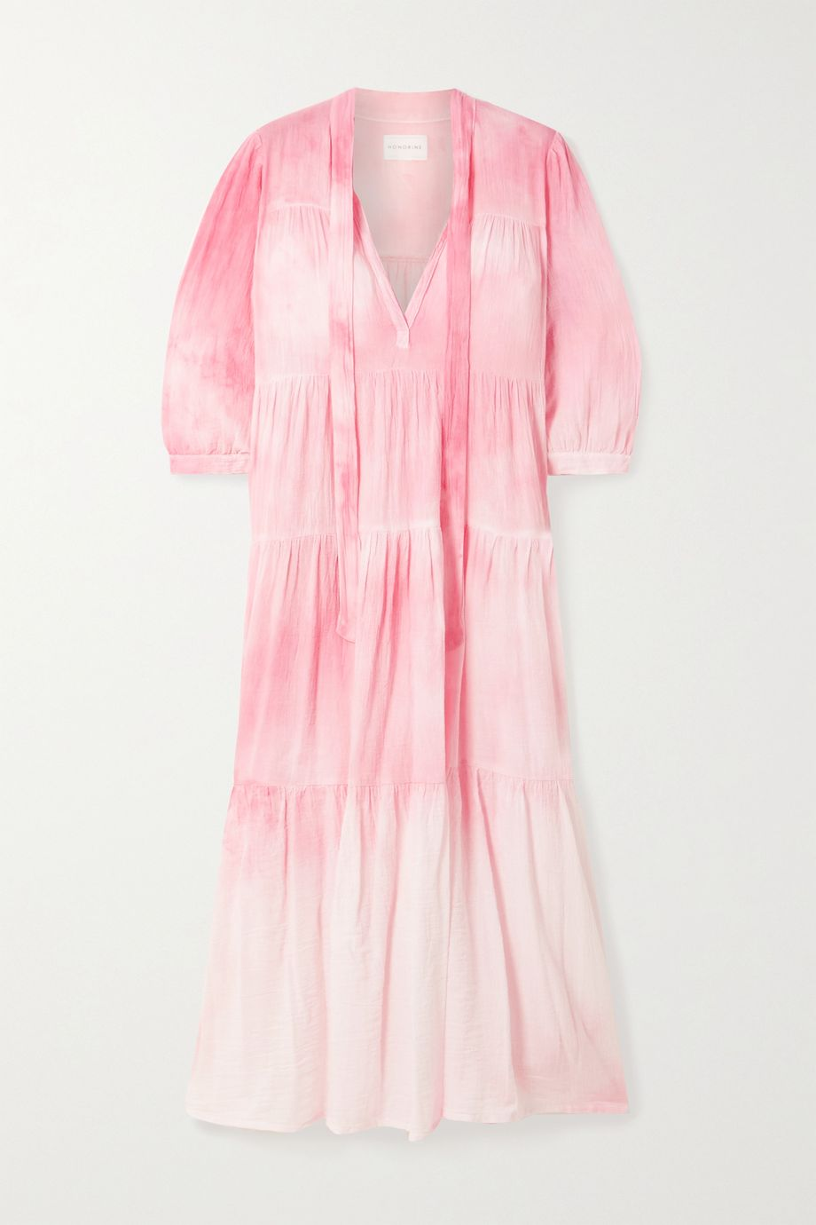 Honorine Giselle tiered crinkled tie-dyed cotton-gauze midi dress