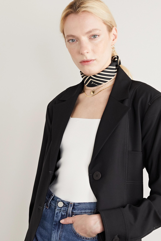 lescarf No. 16 striped silk-twill scarf