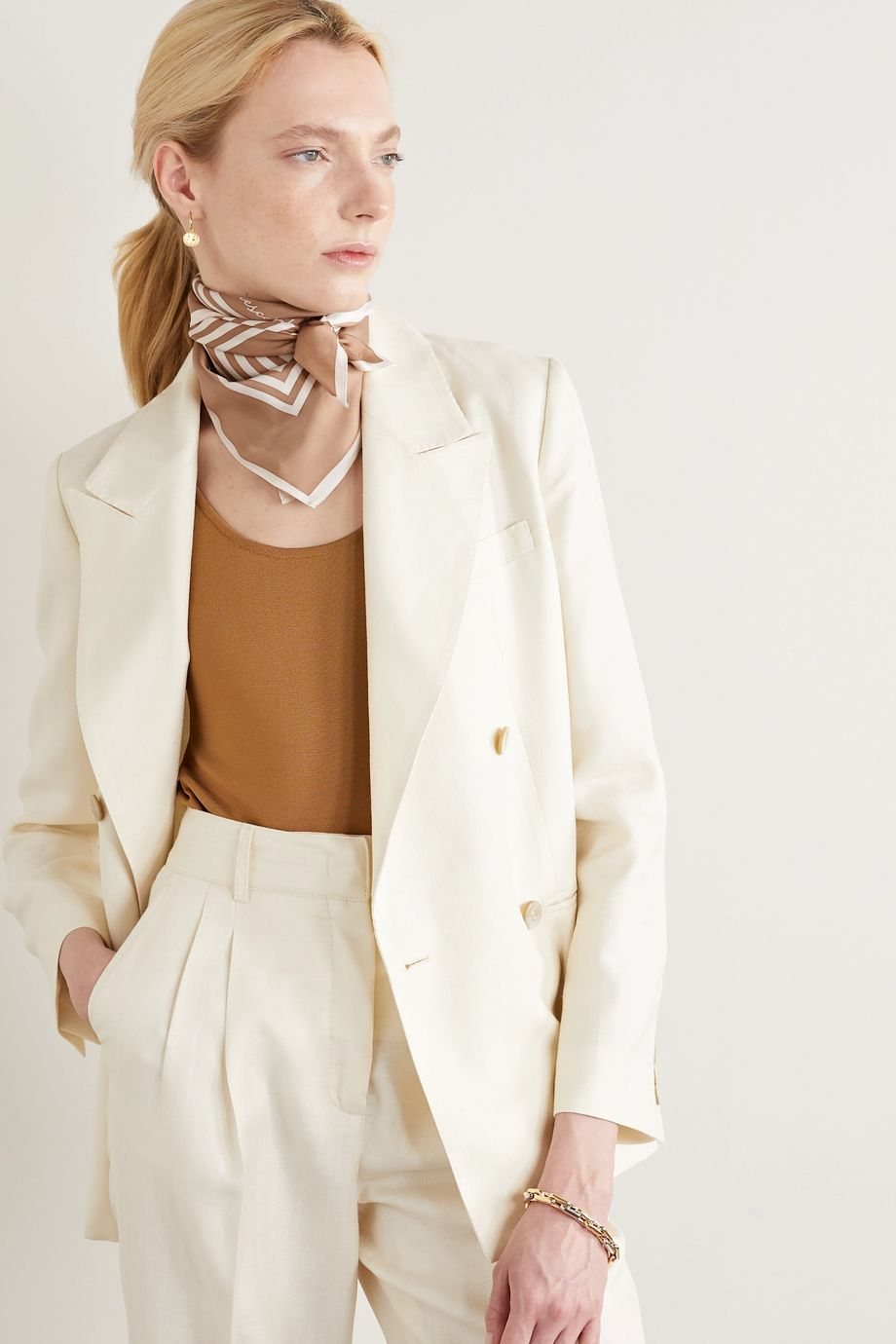 lescarf No. 9 striped silk-twill scarf